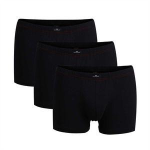 Götzburg Herren Pants 3er Pack - Single Jersey, Unterwäsche Set, Baumwolle Stretch Schwarz XXL