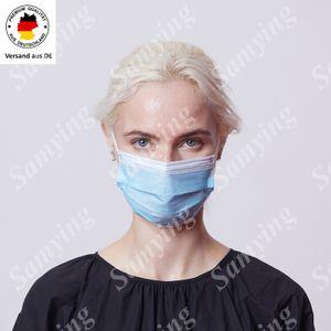 10 Stück Medizinische Chirurgische Maske 3-lagig Einweg OP-Maske Typ-II R  2R EN14683:2019 Hygieneschutz Mundschutz Atemschutzmasken Blau