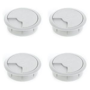 4er Set sossai® Schreibtisch Kabeldurchführung 80mm in Grau Kabeldurchlass Kabelauslass