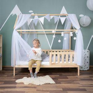 ALCUBE Hausbett-Deko mit Betthimmel Wimpelkette und LED-Lichterkette - Weiß