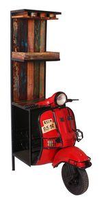 SIT Möbel Barschrank | recycelte Roller Front | Metall mit Altholz | rot mit bunt | B 46 x T 98 x H 190 cm | 01054-37 | Serie THIS & THAT