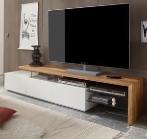 TV Lowboard Alimos weiss matt lackiert Asteiche massiv 204cm breit