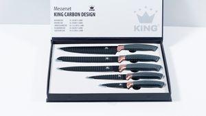 5tlg. Messerset KING® CARBON DESIGN Edelstahl beschichtete Klingen mit Riffelstruktur / Größen: Kochmesser 20cm, Brotmesser 20cm, Universalmesser 12.5cm, Ausbeinmesser 20cm, Gemüsemesser 8.5cm