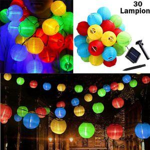 Bunt LED Außen-Lichterkette Solar Outdoor 6.5 Meter 30 Lampions IP65 Wasserfest Deko Solar Akkubetrieben Garten
