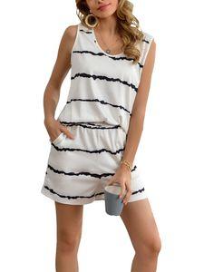 Sexydance Damen Gestreift Schlafanzüge Ärmellose Tops Shorts Nachtwäsche Homewear,Farbe:Weiß,Größe:L