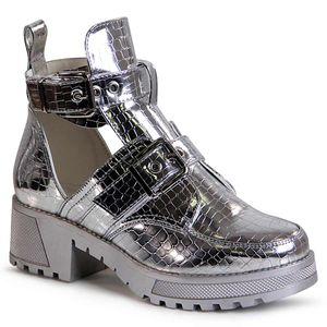 topschuhe24 1725 Damen Lack Stiefeletten Cut Out, Farbe:Silber, Größe:39 EU