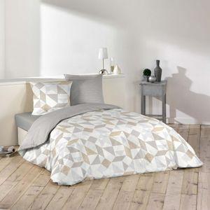 3tlg Bettwäsche 240x220 Wendebettwäsche Kissen Bettbezug Bezug Set grau beige