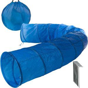 Hundetunnel Hunde Spieltunnel Agility Tunnel blau 5 m Länge ohne Fenster