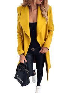 Damen Revers Kragen Wollmantel Lange Winter Trench Outwear Jacke Tops,Farbe:Gelb, Größe:M