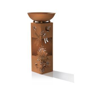 Dekosäule Pflanzschale LED Beleuchtung Metall 3D Garten Libelle Deko 72 cm