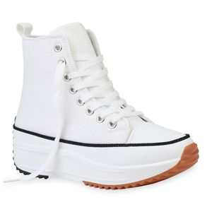 Giralin Damen Sneaker Schnürer Keilabsatz Plateau Stoff-Schuhe 836273, Farbe: Weiß, Größe: 39