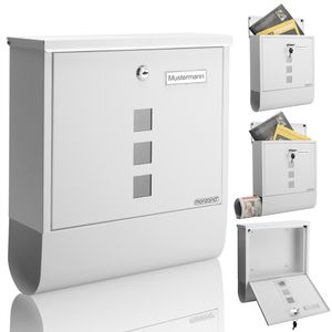 Monzana Design Briefkasten Stahl mit Zeitungsfach Sichtfenster 2 Schlüssel Namensschild Wandbriefkasten, Farbe:weiß