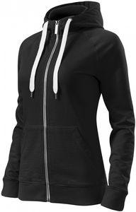 Kontrastfarbenes Damen-Sweatshirt mit Kapuze - Schwarz - S