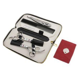 6-er in Haarpflege Set mit Effilierschere und Modelierschere | Friseurscheren + Kamm und Scherenpflege sowie Rasiermesser mit Etui, Edelstahl