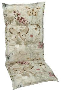 GO-DE Textil, Sesselauflage hoch, Schmetterling beige, 19228-01