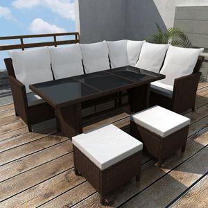 Huicheng 4-tlg. Polyrattan Garten Lounge Set Essgruppe Sitzgruppe Sitzgarnitur Gartenmöbel Sets mit Auflagen Braun