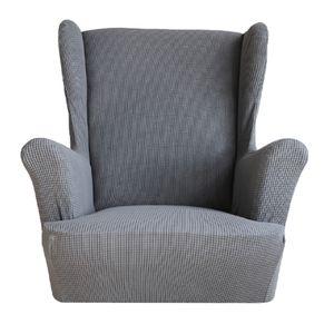 Stretch Ohrensessel Bezug Sofabezug Stretch Couchbezug Sesselbezug Elastischer rutschfest Sofahusse Größe Grau
