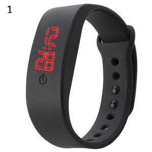 Frauen Mann Silikon Band Bügel Digital LED Anzeigen Armband Handgelenk Sportuhr Schwarz