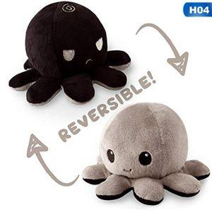 Double-Sided Flip reversible Octopus Plüschtier Marine Life Kuscheltiere Schwarz-Grau
