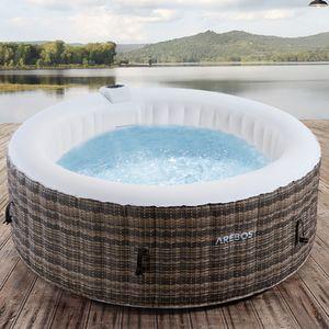 AREBOS Whirlpool Granada | Aufblasbar | In- & Outdoor | 4 Personen | Rattan | 100 Massagedösen | mit Heizung | 800 Liter | Inkl. Abdeckung | Bubble Spa & Wellness Massage
