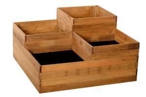 Pflanzkasten mit 4 Fächern aus Holz, Hochbeet, Gartenbeet