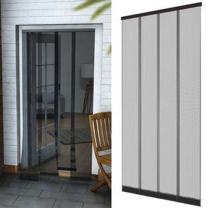 Insektenschutz Tür Vorhang 95 x 220 cm in anthrazit Fliegenvorhang aus Polyester Lamellen mit eingenähten Gewichten und selbstklebender PVC Klemmleiste