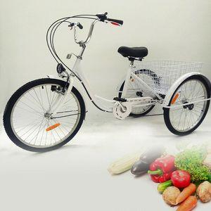 """24"""" Erwachsene Dreirad 6 Gänge Erwachsenendreirad Fahrräder 3 Rad Fahrrad Senioren Fahrrad Mit Licht  Korb Einkaufen Weiß"""