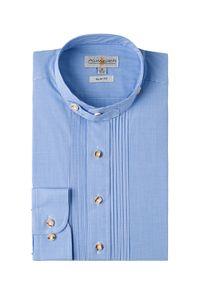 Almsach Trachten Trachtenhemd langarm hellblau kariert Leon 004202 - slimfit Größe: L