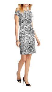 APART Damen Kleid m. Schößchen, weiß-schwarz-grau, Größe:34