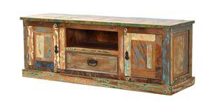 SIT Möbel Lowboard | 2 Türen, 1 Schublade, 1 offenes Fach | Altholz lackiert bunt | B 140 x T 40 x H 50 cm | 09115-98 | Serie RIVERBOAT