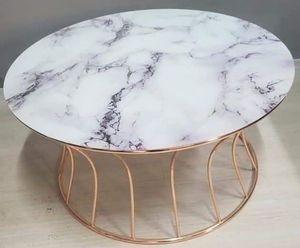 Casa Padrino Luxus Couchtisch Kupferfarben / Weiß Ø 90 x H. 45 cm - Runder Wohnzimmertisch mit Marmorplatte - Wohnzimmer Möbel