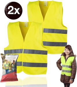 2x 2X Warnweste XS gelb, für Kinder - Jungen & Mädchen - EN471 Pannenweste 2020 Unfallweste Sicherheitsweste ultrahell & starkreflektierend Schulanfänger