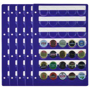 Kunststoffhüllen für 35 Kronkorken, Champagner-Deckel, violett. 5er Pack. Für Kronkorkenalbum Modell XL.