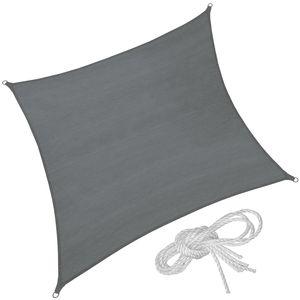 tectake Polyethylen Sonnensegel quadratisch grau - 400 x 400 cm