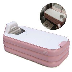1,6 m Faltbare Tragbare Aufblasbare Badewanne PVC Badefass Spa-Badewanne Reisewannefür Erwachsene Kinder (rosa)