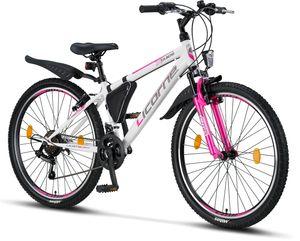 Licorne Bike Guide Premium Mountainbike in 20, 24 und 26 Zoll - Fahrrad für Mädchen, Jungen, Herren und Damen - Shimano 21 Gang-Schaltung, Kinderfahrrad, Kinder, Farbe:Weiß/Rosa, Zoll:26