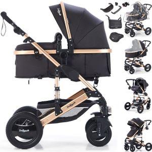 3in1 Kinderwagen Bambimo Kombikinderwagen 15-Teile Set in verschiedenen Farben incl. Babywanne & Buggy & Auto-Babyschale & Alu-Gestell & Gummireifen & mehr Schwarz-Gold