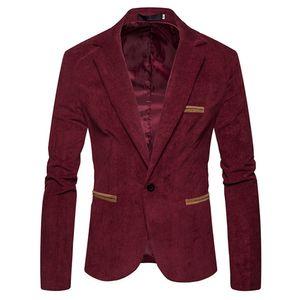 Herren Herbst Winter Casual Cord Slim Langarm Mantel Anzug Jacke Blazer Top Größe:XL,Farbe:Rot