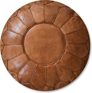Marokkanischer Premium Echtleder Pouf - Braun- Handgefertigt - gefüllt geliefert - Ottoman Sitzsack Fußhocker