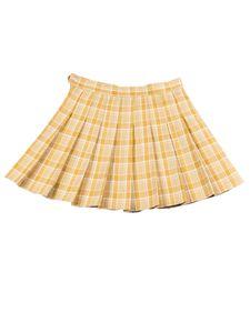 Damen y kurzen Rock hohe Taille Reißverschluss Falten Plaid Rock Mini kurze A-Linie Rock,Farbe: Gelb,Größe:S