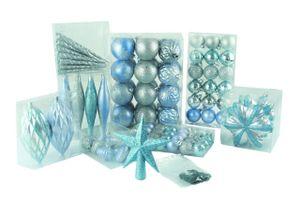 100  Weihnachtskugeln mit Stern Christbaumspitze Blau Silber