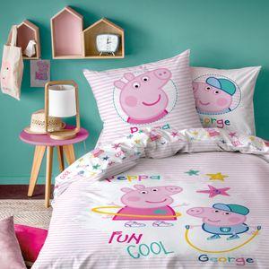 Peppa Wutz Bettwäsche 80x80 + 135x200 cm · Peppa Pig Mädchen-Bettwäsche / Kinder-Bettwäsche · 100% Baumwolle