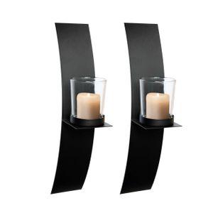 LEX 2er Set Wandkerzenhalter mit Glaskerzenhalter