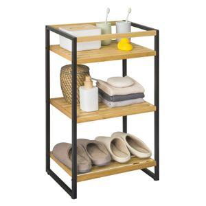 SoBuy STR05-K-N Standregal mit 3 Ablagen Aufbewahrungsregal Badregal Küchenregal Bambus BHT ca: 43x70x30cm