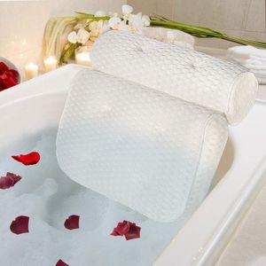 Badewannenkissen, Nackenkissen, Luxus Badewanne & Spa-Kissen mit 4D-Air-Mesh-Technologie und 7 Saugnäpfen. Stützfunktion für Kopf, Rücken, Schulter, Nacken. Geeignet für Badewannen und Home Spa - Weiß