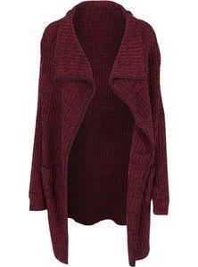 URBAN CLASSICS LADIES KNITTED LONG CAPE FRAUEN STRICKJACKE CARDIGAN , Größe:L, Farbe:burgundy