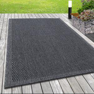 In- & Outdoor Flachgewebe Teppich Webmuster Sisal Optik Linien Design in Grau, Grösse:200x290 cm, Farbe:Silber