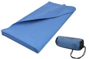 Sporthandtuch Mikrofaser, 90x180 cm, blau, mit praktischer Transporttasche