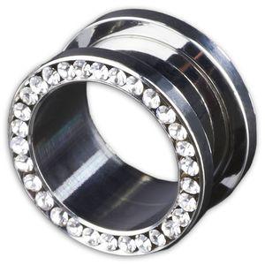 viva-adorno 1 Stück 10mm Flesh Tunnel Schraubverschluss Gewinde Edelstahl Kristall Zirkonia Größe 3 - 16mm Z62, Klar