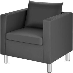 COSTWAY Kunstleder Einzelsofa mit Kissen, Einzelsessel, Sofagarnitur, Clubsessel, Loungesessel, Cocktailsessel, Ledersessel perfekt für Wohnzimmer oder Büro, Grau